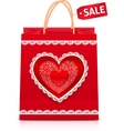 Valentines day red paper shopping bag vector image