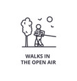 walks in the open air thin line icon sign symbol vector image vector image
