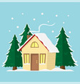 winter mountain landscape background flat with vector image vector image