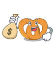 with money bag pretzel character cartoon style vector image vector image
