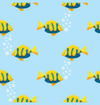 yellow and blue smiling fish seamless pattern vector image