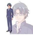 young man manga cartoon vector image vector image