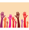Raised hand with hear
