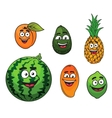 Fresh tropical fruits set vector image