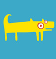 funny yellow dog stands and wags his tail vector image