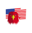 red eagle head and american flag vector image
