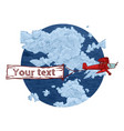 vintage red biplane with banner vector image