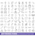 100 finance icons set outline style vector image vector image