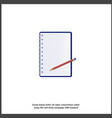 a icon open notepad in line and pencil 3d vector image vector image