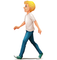 A man in white shirt walking vector image vector image