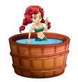A mermaid inside the big wooden bathtub vector image vector image