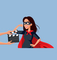 actress filming a female superhero blockbuster vector image