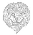 beautiful coloring book page with lion head vector image