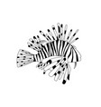 black and white lionfish cartoon pterois volitans vector image vector image