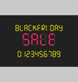 black friday sale poster led display alphabhet vector image vector image