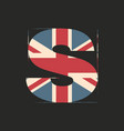 capital 3d letter s with uk flag texture isolated vector image