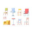 chairs flat modern furniture elegant chairs vector image vector image