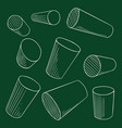 chalk cylinders set perspective geometry vector image vector image