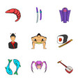 china icons set cartoon style vector image vector image
