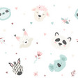 cute seamless pattern with animals for prints vector image