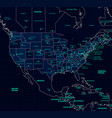 detailed map of the usa futuristic style vector image vector image