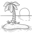 doodle palm tree island vector image vector image