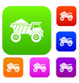 dump truck with sand set collection vector image vector image