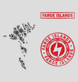 electrical collage faroe islands map and snow and vector image vector image