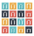 Flat silhouette icons of arches with shadow vector image vector image