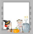 frame template with halloween theme vector image vector image