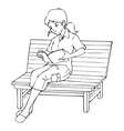 Girl sitting on a bench reading a book vector image vector image