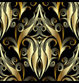 gold 3d damask seamless pattern ornamental vector image vector image