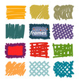 hand drawn sketch doodle frames borders square vector image
