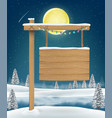 hang wood board sigh on christmas winter lake vector image