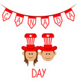 happy boy and girl with party hats canada day vector image