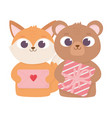 happy valentines day cute fox and bear with gift vector image vector image
