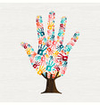 human hand print tree concept for social help vector image vector image