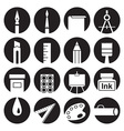 icons attributes of art in circles vector image vector image