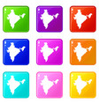 indian map icons 9 set vector image vector image