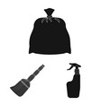 isolated object of cleaning and service logo set vector image