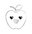 kawaii fresh fruit apple food market cartoon vector image vector image