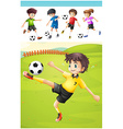 Kids playing football on the lawn vector image vector image