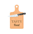 knife with cutting board vector image vector image