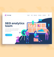 landing page template seo analytics team concept vector image