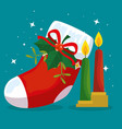 merry christmas boot with ribbon bow and candles vector image vector image