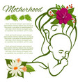 mom and baby line silhouette and flowers vector image