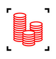 money sign red icon inside vector image