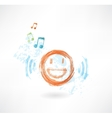 Music smile grunge icon vector image vector image