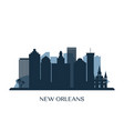 new orleans skyline monochrome silhouette vector image vector image
