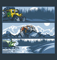 off-road vehicles in difficult situations banner vector image vector image